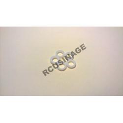 RONDELLES TEFLON ALESAGE 5mm, DIAMETRE 8mm,EPAISSEUR 2mm. LOT DE 5