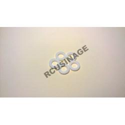 RONDELLES TEFLON ALESAGE 7mm, DIAMETRE 12mm,EPAISSEUR 2mm. LOT DE 5